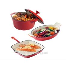 Platos de hierro fundido Juego de 3 cazuela, Gratin y plancha Juego de horno a la tabla de utensilios de cocina