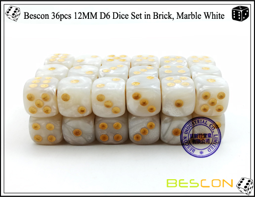 Bescon 36pcs 12MM D6 Dice Set in Brick, Marble White-3
