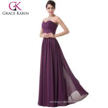 Grace Karin Ladies Sexy bretelles sweetheart mousseline de soie mauve haute mère de la mariée Robes CL6273