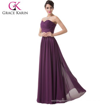 Grace Karin Ladies Sexy Strapless Sweetheart Chiffon Purple Cheap Tall Mother of The Bride Dresses CL6273