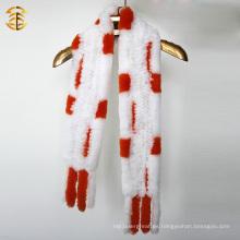 Naranja y blanco bufanda de conejo con revestimiento de piel de punto Rex conejo piel bufandas