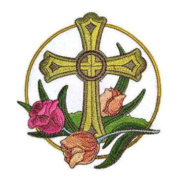 Heilige Heilige Kreuz und Tulip Embroidery Patches