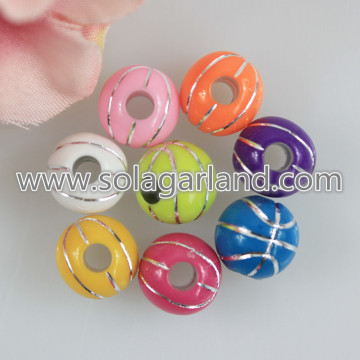 12MM Basketbalpatroon Acryl Rond Chunky Beads