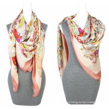 Moda de impresión gasa 100% poliéster de seda sensación bufanda Cuadrado bufanda