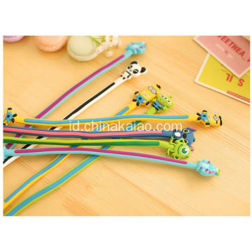 Desain Kartun Silicone Rubber Earphone Cord Cable Winder