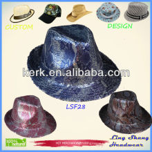 2013 Blue Sequins Promotion Fabric Fedora Hat caps & hats,LSF28