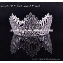 Модные аксессуары для волос полный круглый горный хрусталь свадебный тиара свадьба волосы корона