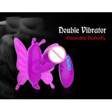 Juguete sexual doble vibrante del consolador de la mariposa (IJ-DV0049)