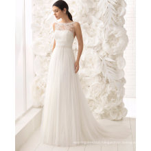 Sexy Open Back Boat Neck Beading Lace and Tulle Bridal Dress Wedding Gown