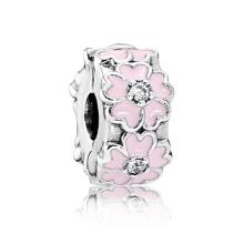 925 sterling silver pink flower beads diy bracelet accessories