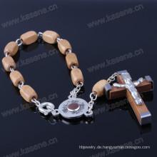 Hochwertige hölzerne Perlen katholischen Armband mit offenen Schließen Button