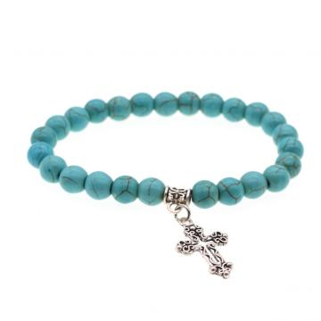 Natural Turquoise Chakra Gemstone 8MM Round Beads Charms Bracelet with Cross Alloy