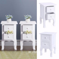 Pair Of White Shabby Chic Bedside Table 2 Drawer Storage Cabinet Nightstand Unit