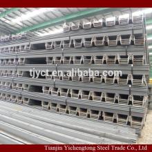 Construção usado tipo U pilha de chapa de aço a quente 400x100x10.5mm preço por tonelada