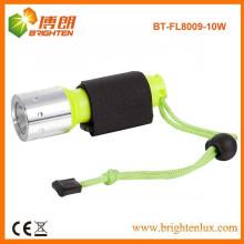 Factory Supply High Power ABS imperméable à l'eau sous l'eau Rechargeable 10w Cree xml t6 led avec lampe de plongée avec 1 * 18650 batterie