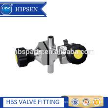 Mini tipo de válvula de amostra de diafragma braçadeira de aço inoxidável sanitária