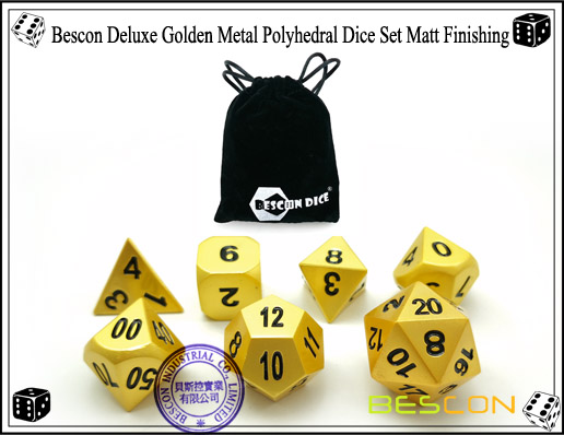 Bescon Deluxe Golden Metal Polyhedral Dice Set Matt Finishing-6