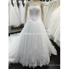 2015 Neue Ankunfts-Tulle-Spitze Appliqued weiße elegante süße Herz-Festzug-trägerlose Mieder-Alibaba-Express-Hochzeits-Kleider VW242-1