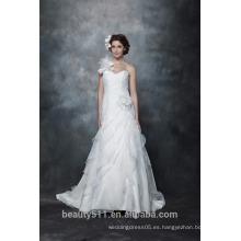 Vestido de boda elegante del cordón del hombro del A-line de la venta al por mayor elegante del A-line con las mangas largas que casan el vestido nupcial AS284