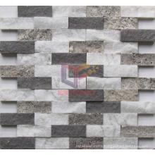Grey Travertine Mix White Marble Mosaic (CFS911)