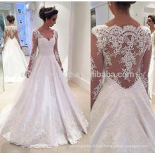 2016 personalizado por la espalda satén Appliques manga larga Alibaba vestido de novia