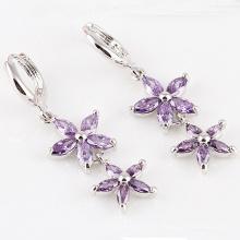 Silver Cubic Zirconia Diamond Crystal Zircon Earrings