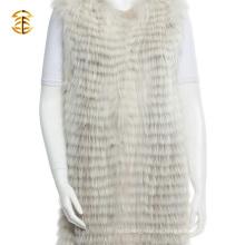 El estilo largo de encargo del chaleco de la piel de las mujeres más nuevas del mapache hizo punto los gatos de la piel del mapache