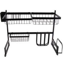 Acier inoxydable 2 attaches Supports de stockage Supports Accessoires de cuisine Support de stockage de séchage sur évier