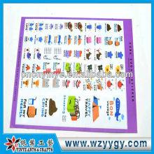 Moda oem PVC reciclagem adesivos de aprendizagem para crianças