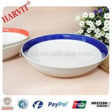 Borde del borde del color pintado a mano tazón de fuente de poca profundidad de cerámica