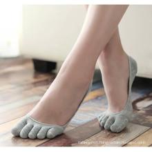 Men′s Women′s Cotton Five Toe Ankle Invisible Socks (FA021)
