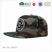 Camouflage Applique Cotton Flat Bill Cap