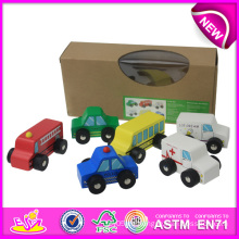 Buntes hölzernes Spielzeug-Auto für Kinder, handgemachtes Spinnen-Kinderauto-Spielzeug, heißer Verkauf Mini-hölzernes Spielzeug-Auto-Satz für Baby W04A083