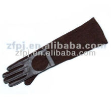 Braune Farbe lange Arm Wildleder Handschuhe