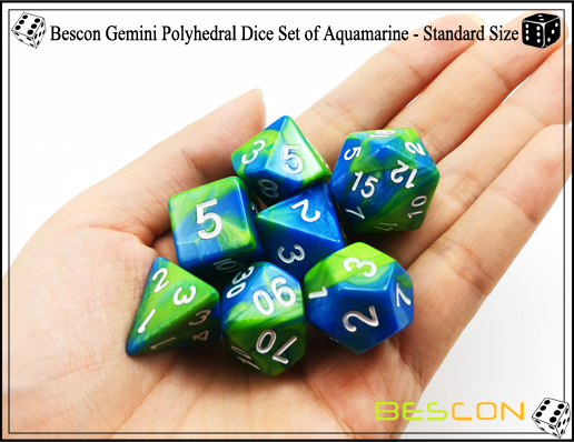 Bescon Gemini Dice Set of Aquamarine-2
