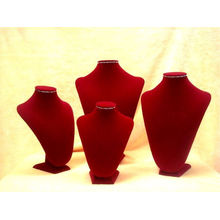 Collar de madera de terciopelo rojo exhibición collar busto (NS-RV-F Serie)