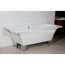 Acrílico superficie sólida rectángulo descuento bañera independiente con cuatro patas