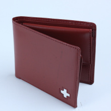 Burgundy Full Grain Leather Men Pocket Bi-fold Wallet