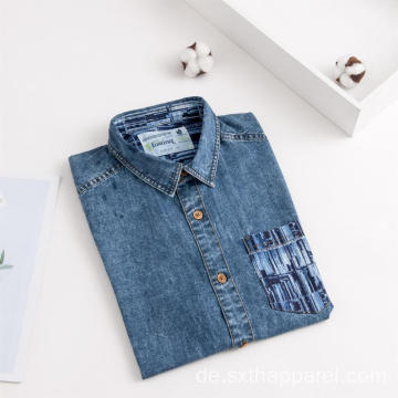 Mode Herren Kurzarm Indigo Denim Print Shirt