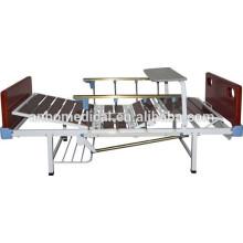 Cabezal de madera desmontable y tabla de pies doble manivela cama de hospital