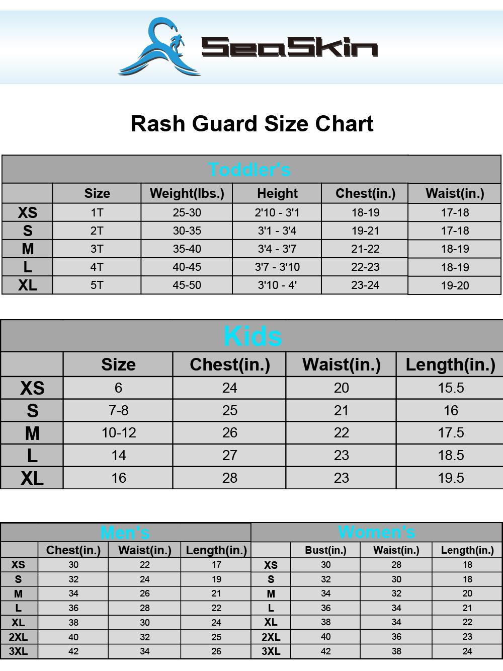 Seaskin Rashguard Size Chart