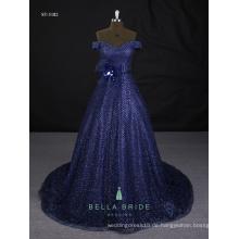 Echte Beispielbilder Abendkleider glänzende blaue moderne Abendkleider zum Verkauf