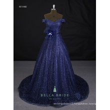 Latest women ladies' simple floor length party gown royal blue prom evening dress