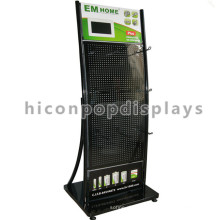 Quality Top Small Lcd Black Powdered Pegboard Metal Hook Mall Visual Advertising Display Stand
