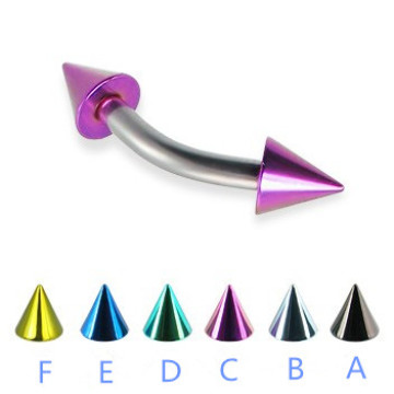 Titanium Colored Cone Curved Barbell Eyebrow
