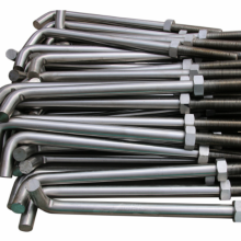 Hot Dip Galvanized L Anchor Bolts with Nuts and Washer Carbon Steel Fastener Foundation Bolts