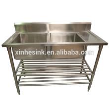 Австралия кухне раковина с рабочим столом, Коммерческая кухня из нержавеющей стали 2 отсека две раковины с крылом
