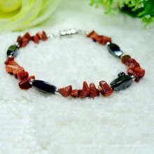Браслет из натурального красного камня с магнитом из 4-х сторон, из бисера ручной работы, браслет из драгоценных камней ручной работы
