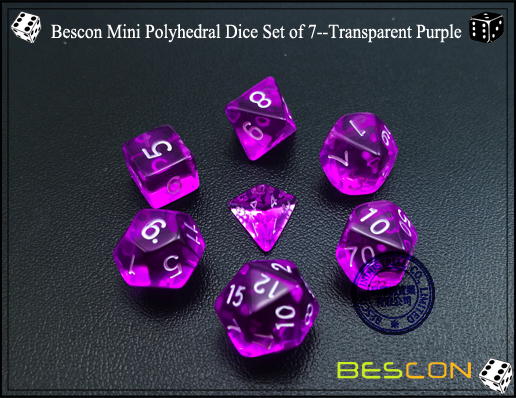 Bescon Mini Polyhedral Dice Set of 7--Transparent Purple-3