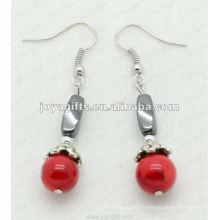 Fashion Hematite Twist Beads Earring, perles d'hématite et boucles d'oreilles en argent couleur boucles d'oreilles hematite 2pcs / set